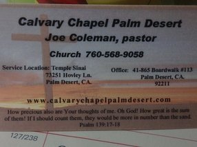 calvary chapel palm desert in Palm Desert,CA 92260-0319